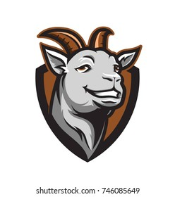 Smiling goat vector illustration sports mascot style design element