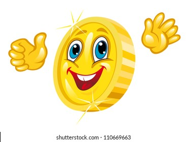 Smiling golden coin isolated on white. Vector illustration