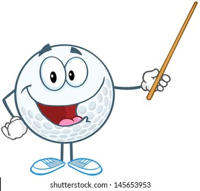 Smiling Golf Ball Cartoon Character Holding A Pointer. Vector Illustration