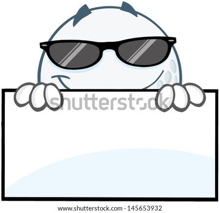 smiling golf ball sunglasses hiding behind stock vector royalty