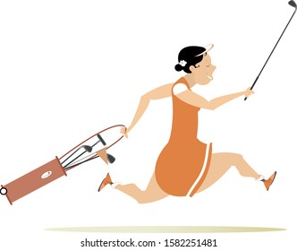 Smiling golfer woman runs to play golf illustration. Cartoon smiling golfer woman with golf bag and golf club runs to the golf course isolated on white