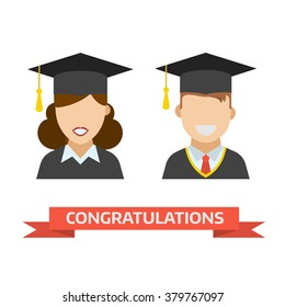 Smiling graduation man and woman education students. Graduates guy and girl in graduation hats and gown vector icon. Happy and joy grad people. Congratulation card.