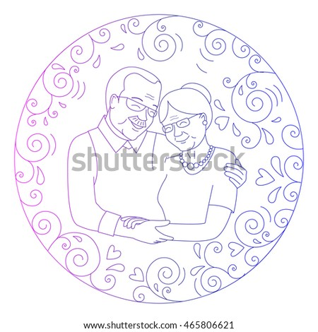 Smiling Grandmother Grandfather Hugging Round Frame Stock Vector ...