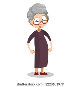 Smiling grandmother holding hands on hips. Funny granny in glasses wearing brown dress. Friendly grandmother personage isolated on white background. Happy pension lifestyle vector illustration.