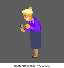 Smiling grandmother holding a smartphone. Vector illustration of a flat design.