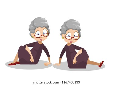Smiling grandmother sitting on floor. Funny granny in glasses and brown dress. Old woman relax on ground in different poses. Friendly grandmother personage. Happy pension lifestyle vector illustration