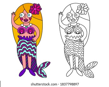 Smiling greeting girl in mermaid costume vector coloring page for kids. Simple colorful mermaid character isolated on white and black outline version. Long hair blonde girl in mermaid costume