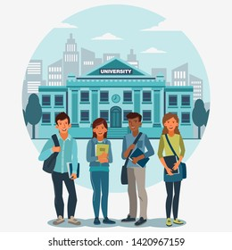 Smiling group of students standing with notebooks. Back to school vector concept