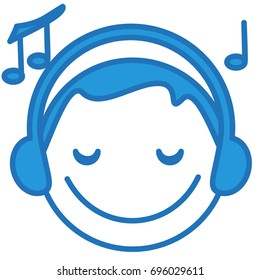 smiling guy listening to the music wearing headphones, funny cartoon character with simplistic facial expression, simple hand drawn circle shaped emoticon, eps 10 vector illustration