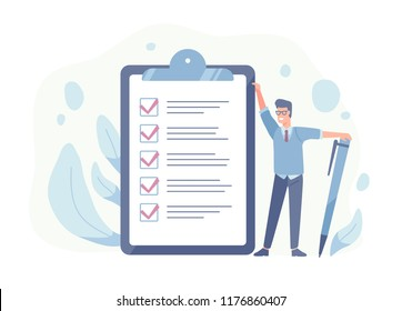 Smiling guy standing beside giant check list and holding pen. Concept of successful goal achievement, productive daily planning and task management. Colorful vector illustration in flat cartoon style.