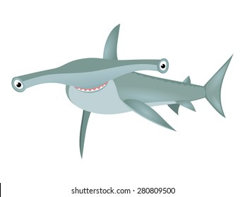 Smiling hammerhead shark Big bizarre fish cartoon character isolated on white background Cartoon big grey shark Sea life theme Great for kids illustration, t shirt stamp, animal and wildlife design