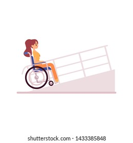 Smiling handicapped woman in wheelchair driving on ramp flat cartoon style, vector illustration isolated on white background. Side view disabled girl sitting wheelchair and riding on rampant