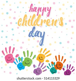 Smiling hands on dots texture background on children's day