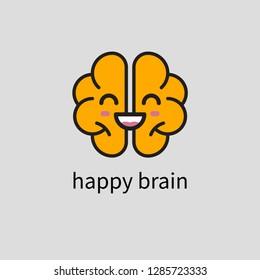 Smiling happy brain icon, mental health, brain care, activity, creativity. Vector illustration