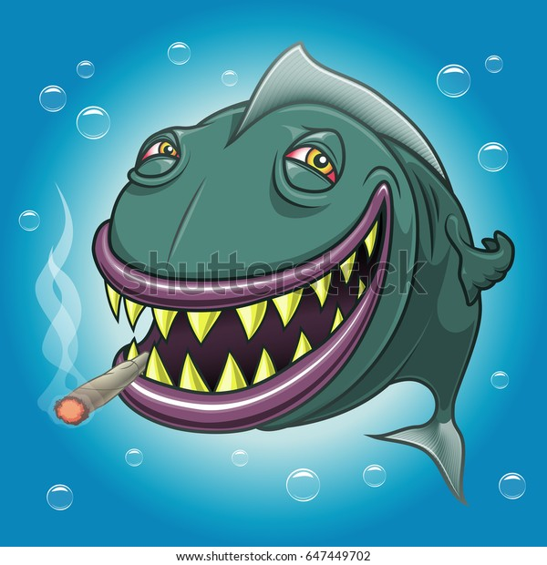 Smiling happy cartoon fish with red eyes smoking marijuana underwater. Vectorial illustration.