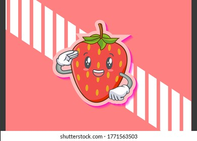 SMILING, HAPPY, cheerful Face Emotion. Salute Hand Gesture. Red Strawberry Fruit Cartoon Drawing Mascot Illustration.