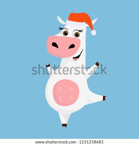 356436aff3a1e Smiling happy cow with Santa hat. Funny smiling cute farm character