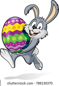 Smiling and Happy Easter Rabbit, or Easter Bunny holding an Egg, while running
