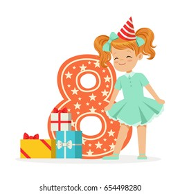 Smiling happy eight year old girl in a red party hat celebrating her birthday, colorful cartoon character vector Illustration