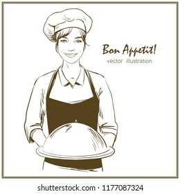 Smiling and happy female waitstaff. Girl with chef's hat is holding a restaurant cloche. Hand drawn vector illustration.