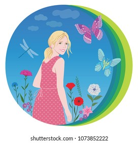 Smiling happy girl with flowers ,butterfly and dragonfly on clouds background. Hand drawing illustration for t-shirt design, poster, banner and other design.