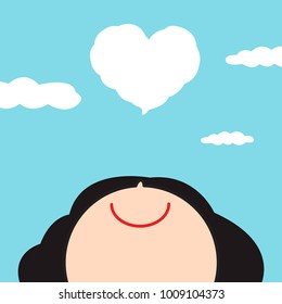 Smiling Happy Girl Looking Up To Love Cloud With Heart Shape Floating On Blue Sky Concept Card Character illustration