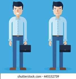 smiling happy man and sad man, character design set, vector illustration