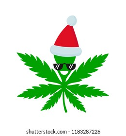 Smiling happy marijuana weed in christmas hat. Vector flat cartoon character illustration icon design. Isolated on white background.Weed, marijuana. ganja, medical and recreation cannabis