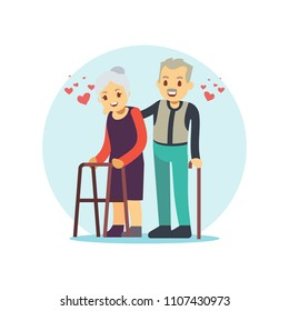 Smiling and happy old couple. Elderly family in love cartoon character isolated on white. Vector illustration