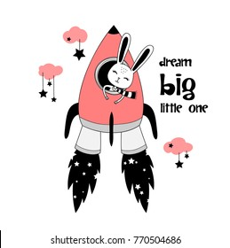 smiling happy pretty rabbit astronaut in rocket ship. girlish, childish vintage hand drawn beautiful artwork with text. for summer t-shirts, wall art, baby shower, wear, textile, fabric, cards, patch