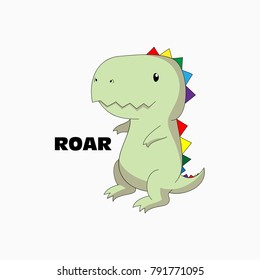 "smiling happy pretty tyrannosaur with sharp teeth, trendy beautiful isolated boyish and girlish childish artwork with text ""roar"", for child clothes, patches, fabric, wall art, stickers etc"