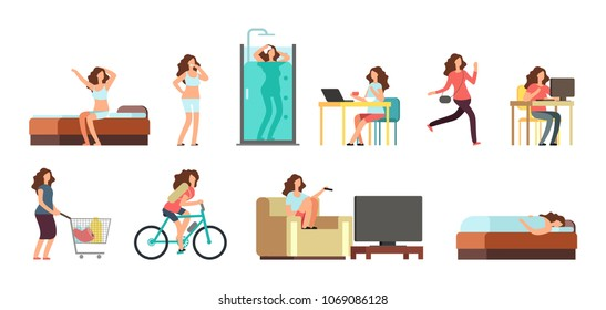 Smiling happy woman in everyday life. Active girl normal daily routine vector cartoon lifestyle characters set. Illustration daily, everyday life girl, sleeping and shower, breakfast and shopping