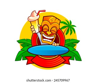 Smiling Hawaiian totem tiki mask with cocktail and surf board. Vector logo template.