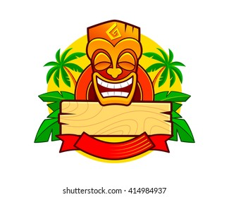 Smiling Hawaiian Totem Tiki Mask. Tribal Logo Template