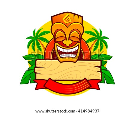 smiling hawaiian totem tiki mask tribal stock vector royalty free