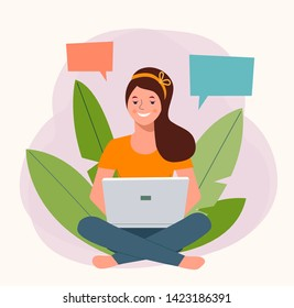 Smiling  is holding notebook isolated. Vector flat illustration