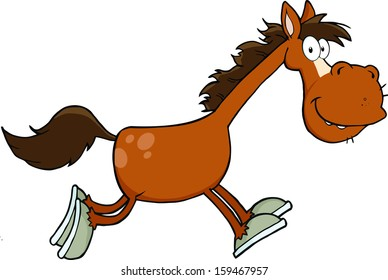 Smiling Horse Cartoon Character Running. Vector Illustration Isolated on white