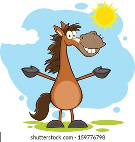 Smiling Horse Cartoon Mascot Character With Open Arms Over Landscape. Vector Illustration