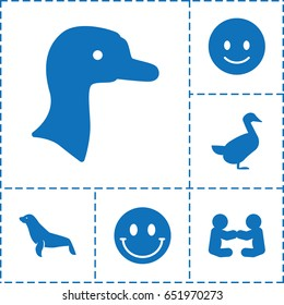 Smiling icon. set of 6 smiling filled icons such as goose, seal, smiling emot, smiley