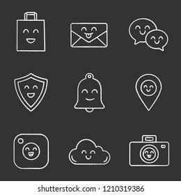 Smiling items chalk icons set. Happy shopping bag, letter, speech bubbles, shield, bell, map pinpoint, camera, cloud, photocamera. Isolated vector chalkboard illustrations