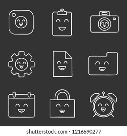 Smiling items chalk icons set. Happy camera, clipboard, photocamera, cogwheel, file, folder, calendar, padlock, alarm clock. Isolated vector chalkboard illustrations