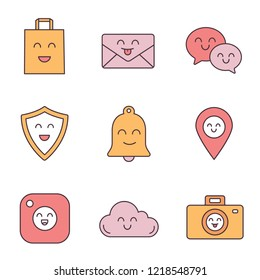 Smiling items color icons set. Happy shopping bag, letter, speech bubbles, shield, bell, map pinpoint, camera, cloud, photocamera. Isolated vector illustrations