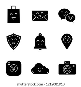 Smiling items glyph icons set. Happy shopping bag, letter, speech bubbles, shield, bell, map pinpoint, camera, cloud, photocamera. Silhouette symbols. Vector isolated illustration