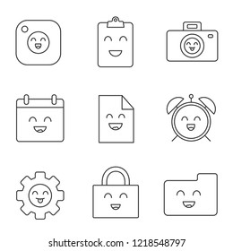 Smiling items linear icons set. Happy camera, clipboard, photocamera, cogwheel, file, folder, calendar, padlock, alarm clock. Contour symbols. Isolated vector outline illustrations. Editable stroke