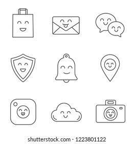 Smiling items linear icons set. Happy shopping bag, letter, speech bubbles, shield, bell, map pinpoint, camera, cloud, photocamera. Contour symbols. Isolated vector illustrations. Editable stroke