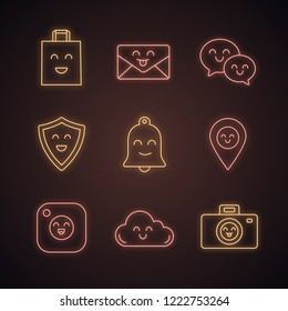 Smiling items neon light icons set. Happy shopping bag, letter, speech bubbles, shield, bell, map pinpoint, camera, cloud, photocamera. Glowing signs. Vector isolated illustrations