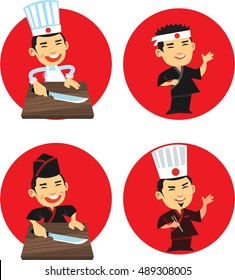 Smiling japanese chef. Japanese chef with knife. Japanese chef in traditional dress standing in front of red circle. Isolated. Set.