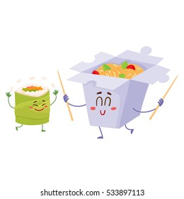 Smiling Japanese noodle in paper box and avocado roll characters, cartoon vector illustration isolated on white background. Cute and funny smiling noodle box and avocado roll, suchi character