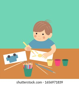 Smiling kid artists painting a piece of art. Color paint lesson in the kinder garden. Modern flat style vector illustration cartoon clipart.