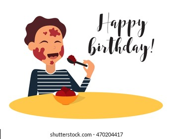 Smiling kid eating ice cream with dirty face. Birthday card vector illustration.